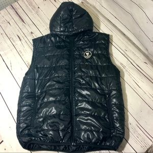 Guinness Puffer Vest Hooded Black Quilted Large